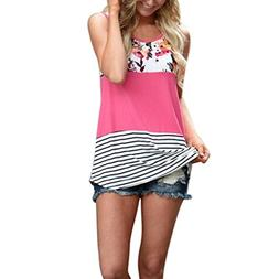 TOOPOOT Women Floral Print Lace Patchwork Tank Ladies Stripe