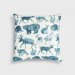 "Woodland Animals Square Throw Pillow - Blue - 18"" x 18"" - Th"
