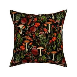 Woodland Flowers Vintage Throw Pillow Cover w Optional Inser