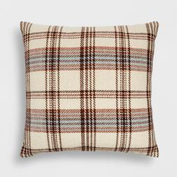 Woven Plaid Oversized Square Throw Pillow Cream/Brown - Thre