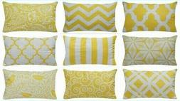 "12x20"" Yellow Premium Throw Pillow Case Home Decor Sofa Couc"
