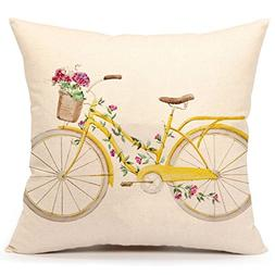 4TH Emotion Yellow Bicycle Throw Pillow Cover Vintage Spring