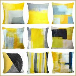 Yellow Gray PILLOW COVER Abstract Home Decor Decorative Grey