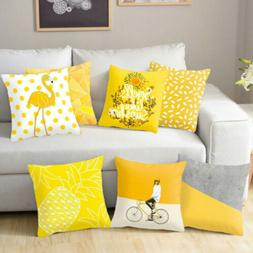 Yellow Gray Throw PILLOW COVER Home Decor Grey Soft Sofa Bed