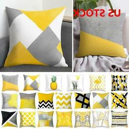 Yellow Polyester Pillow Case Sofa Car Waist Throw Cushion Co