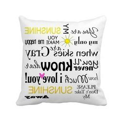 Decorbox You Are My Sunshine Quote Pattern 18x18 Inch Polyes