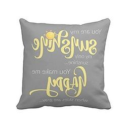 Leaveland 18 x 18 Inch You Are My Sunshine Yellow On Gray wi