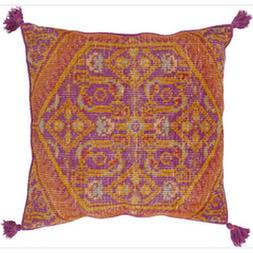 """Surya Zahra Down Fill 30"""" Square Pillow in Orange and Pink"""